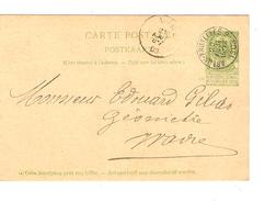 Entier CP 27 C.Ambulant Arlon-Bruxelles 2 20/8/1903 V.Wavre C.d'arrivée PR4697 - Postmark Collection