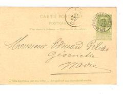 Entier CP 27 C.Ambulant Arlon-Bruxelles 2 20/8/1903 V.Wavre C.d'arrivée PR4697 - Ambulants