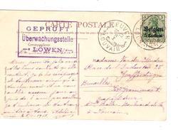 Guerre-Oorlog 14-18 TP Oc 2 S/CP De Louvain C.Leuven Année Barrée + Censure Mauve De Löwen PR4698