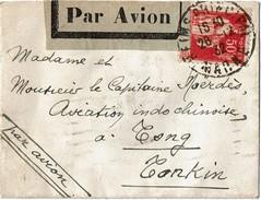 CTN40/1 - FRANCE - REIMS 3fr TYPE IV ET PAIX 50c SUR ENV. CARTE VISITE TARIF AVION 28/12/1932 POUR LE TONKIN - France