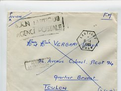 Cp - Cachet De Franchise Militaire - LARTIGUE ORAN - P.A.N. LARTIGUE AGENCE POSTALE + Retour à L'envoyeur - Marcophilie (Lettres)