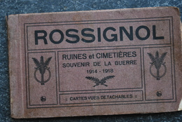 937/ Carnet ROSSIGNOL-Cimetières-ruine Usine Hurieaux-Eglise Bombardée,incediée,rue De Breuvanne... - Guerra 1914-18