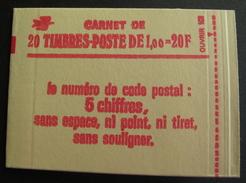LOT R1703/39 - CARNET DE 20 TIMBRES NEUFS ** SABINE N°1972 GOMME MATE N° 1972-C3a - Cote : 140,00 € - Markenheftchen