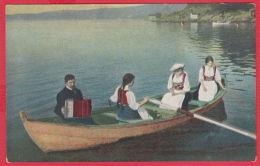 219516 / LAKE MAN MUSIC ACCORDEON , BOAT WOMEN LONG HAIR NATIONAL COSTUME  , No. 1643 - Europe