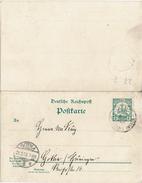 CTN40/1 - MARSHALL INSELN EPCP AVEC DEMANDE ET REPONSE ATTACHEES OBLITEREES FEVRIER 1905