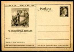 """German Empires 1942 Kopfbild A.Hitler GS Mi.Nr.P307/42-18-1-B21""""Lernt Deutschland Kennen!-Litzmannstadt,Barockgeb."""" 1 GS - Enteros Postales"""