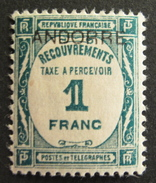 LOT R1703/137 - ANDORRE FRANCAIS - 1931 - TIMBRE TAXE - N°12 - NEUF * - Cote : 125,00 €