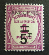 LOT R1703/139 - ANDORRE FRANCAIS - 1931 - TIMBRE TAXE - N°15 - NEUF * - Cote : 135,00 €
