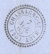 COTE D'OR 21 CHASSAGNE LE HAUT LAC TAD 22  Du 07/11/1865 GC 4534 Sur N° 22 SUP - Marcophilie (Lettres)