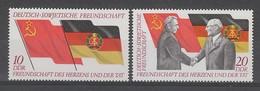 PAIRE NEUVE D´ALLEMAGNE ORIENTALE - 25EME ANNIVERSAIRE DE L´AMITIE GERMANO-SOVIETIQUE N° Y&T 1448/1449