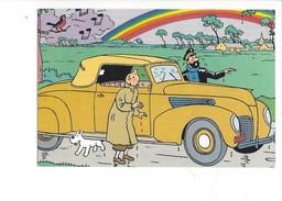 16919 - Tintin  Capitaine Haddock Milou Et Voiture Jaune (format 10X 15) - Bandes Dessinées