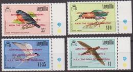 ANGUILLA BIRDS UCCELLI BIRDS OISEAUX OVERPRINT WEDDING H.M QUEEN ELIZABET II 706/09 MNH