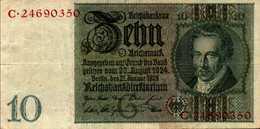 ALLEMAGNE WEIMAR 10 REICHMARK Du 22-1-1929  Pick 180a - [ 3] 1918-1933 : Weimar Republic