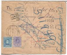 ALFONSO XIII MEDALLON CADETE CARTA CERTIFICADA A USA JARAIZ DE LA VERA CACERES 1910 REEXPEDIDA AL DORSO MAT CERTIFICADO - Brieven En Documenten