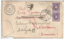 ALFONSO XIII CADETE CC CERTIFICADA DE BADALONA BARCELONA A COPENAGUE DINAMARCA 1909 AL DORSO MAT AMBULANTE BARCELONA POR