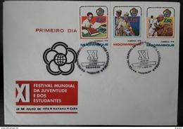 FDC MOÇAMBIQUE / MOZAMBIQUE - XI FESTIVAL MUNDIAL DA JUVENTUDE E ESTUDANTES, CUBA (youth, Students) - Maputo, 28/7/1978