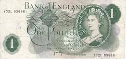 BILLETE DE REINO UNIDO DE 1 POUND DE LOS AÑOS 1960 A 1964   (BANKNOTE) - 1952-… : Elizabeth II