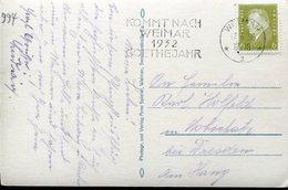 21893 Germany Reich, Special Postmark Slogan Weimar 1932  Goethejahr,  Year Of Goethe,