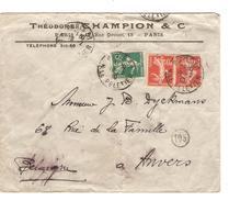 TP Semeuse (3) S/L.à En-tête Théodore Champion & Cie C.Paris En 1910 V.Anvers Belgique C.d'arrivée PR4700 - Marcophilie (Lettres)