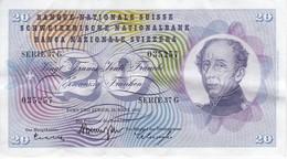 BILLETE DE SUIZA DE 20 FRANCS DEL AÑO 1963 EN CALIDAD EBC (XF) (BANKNOTE) - Suiza