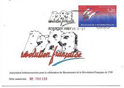 OBLITERATION BICENTENAIRE REVOLUTION 1989 à BETHONCOURT DOUBS - Commemorative Postmarks