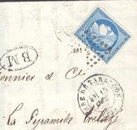 BOUCHES DU RHONE 13 GARE DE TARASCON LAC TAD 17  Du 15/10/1872 + BM  (Saint Remy)  Losange ML2° Sur N° 60 TTB - Postmark Collection (Covers)