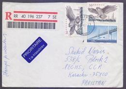 OWL Birds Of Prey, Postal History Cover From SWEDEN, Registered Used 2002
