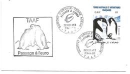 TAAF FDC PASSAGE A L'EURO 2002 PINGUOINS