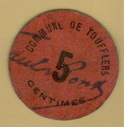 WW1 France Toufflers 5 Centimes Circulated - Bonds & Basic Needs
