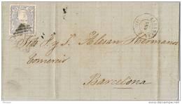 24413. Envuelta ZARAGOZA 1871 A Barcelona. Alegoria España, Error Fechador - Cartas