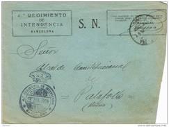 24416. Carta S.N. Barcelona 1926. Franquicia Militar 4º Regimiento Intendencia