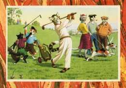 Chats Humanisés Jouant Au Golf, Chien Fox Terrier - Cats