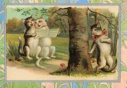 Chats Humanisés Chantant En Choeur, Amoureux Les Observant - Gatos