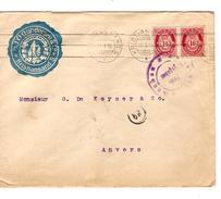 Norge-Norvège Cover From Kristiansand 22/9/1915 Backside Bergen-Newcastle Posteksp 27/9/15  Censored To Belgium PR4706