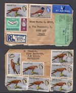 1965 MAURITIUS POSTAL MAIL TO ITALY WITH BIRDS KESTREL, PARADISE FLYCATCHER STAMPS ON FRONT AND BACK VERY NICE