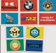 Autocollant  -  Lot De 10 - Publicité Marque MOTOS Et Autos - BULTACO BMW KAWASAKI HONDA HARLEY DAVIDSON LAVERDA PIAGGIO - Autocollants