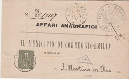 Italie Lettre De Service Corregio-Emilia 1890