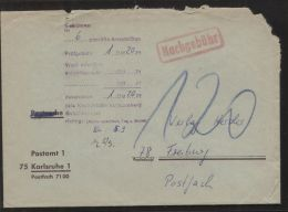 Bund - 120 Pf. Nachgebühr Auf Sammel-Anschriftenprüfung - Postamt 1 Karlsruhe Vom 5.9.1974 - Briefe U. Dokumente