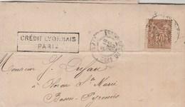 Yvert 80 Sage Lettre Perforé C Crédit Lyonnais Cachet PARIS Gare Du Nord 18/12/1899 Pour Oloron Ste Marie Timbre Fiscal