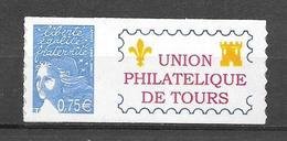 P95 Marianne De Luquet N° 3729B N++ Adhésif Personnalisé Union Philatélique De Tours