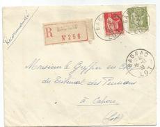 PAIX 75C+50C LETTRE FRANCHISE RECOM BAGNAC 15.11.1933 LOT