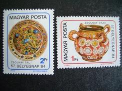 Hungary, 1984, Ceramics Art, Zsolnay Ceramics, 57th Stamp Day, Stamp On Stamp Caligraphy