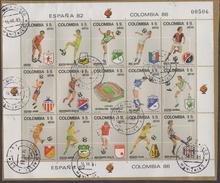 A129- KOLUMBIEN / COLOMBIA. MI#:1562-76. USED COMPLETE SHEET, COLOMBIAN SOCCER TEAMS.MANIZALES 14-X--83 CANCEL-2 FOLDED