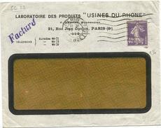 SEMEUSE 40C VIOLET PERFORE SC LETTRE FENETRE ENTETE LABORATOIRE USINES DU RHONE PARIS 8E 1928