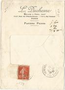 SEMEUSE 10C PERFORE VP LETTRE FENETRE ENTETE VERLUISE PEROL PAPIERS PEINTS PARIS 103 18.2.1911
