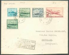 Affranchissement DOUGLAS - OSTENDE DOUVRES Obl. Sc BRUXELLES 1 Sur Lettre Par Avion Du 13-6-1946 Vers Bruxelles+ Griffe - Luchtpost
