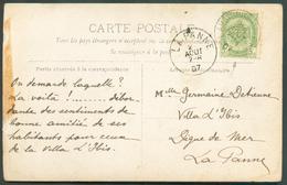 CV Obl. Sc Ambulant BRUX-ARLON N°2 Du 26 Août 1907 Vers La Panne (>villa Louise) - 11816 - Postmark Collection