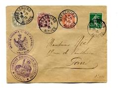 !!! 5C SEMEUSE ET TYPES BLANC SUR LETTRE DE 1915 CACHET DE WESSERLING - ALSACE ( VILLE RECONQUISE )