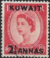 KUWAIT 1952 Queen Elizabeth II Surcharged -  21/2a. On 21/2d. - Red  FU - Kuwait