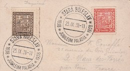 Tchécoslovaquie Affranchissement Recto Verso Cachet Stra Bolleslav Jubileum Paladia 25/9/1938 Carte Postale Religieuse - Tchécoslovaquie